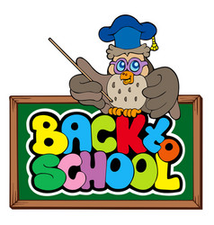 back to school sign with owl lector vector image