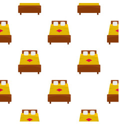 Bed with yellow blanket pattern seamless vector