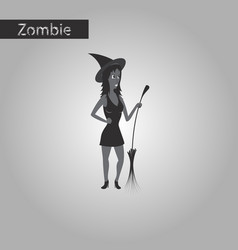 black and white style icon of witch with broom vector image