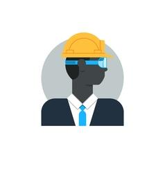 Black man side view civil engineer in hard hat vector