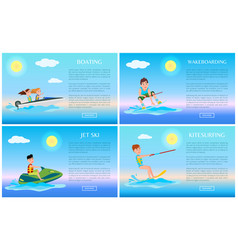 Boating and wakeboarding jet ski and kitesurfing vector