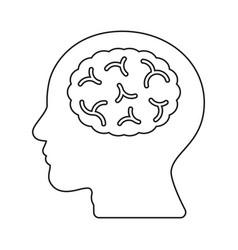 Brain human head idea thin line flat design icon vector