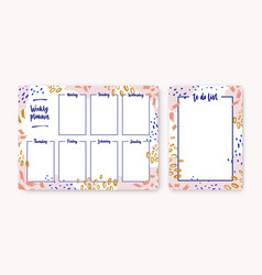 Bundle personal weekly planner and to-do-list vector