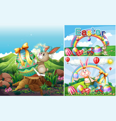 Bunny and eggs for easter holiday vector