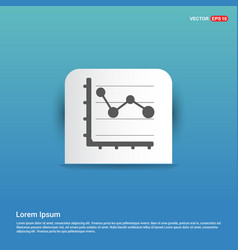 business graph icon - blue sticker button vector image