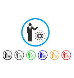 Businessman show cardano rounded icon vector