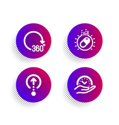 capsule pill swipe up and 360 degrees icons set vector image
