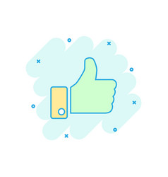 cartoon like icon in comic style thumb up sign vector image