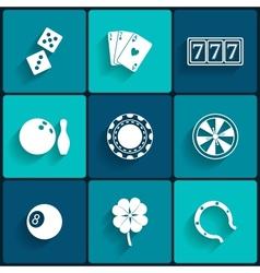 Casino and Gambling Flat Icons vector image