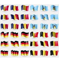Chad Saint Lucia Germany Belgium Set of 36 flags vector