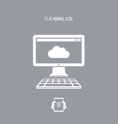 cloud computing - flat minimal icon vector image