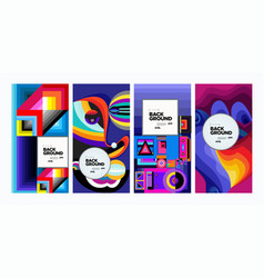 Colorful ethnic geometric pattern background set vector