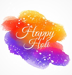 Colorful ink stain with happy holi text vector