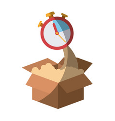 Colorful silhouette of cardboard box and stopwatch vector