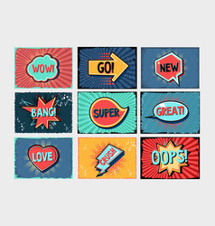 Comics style backgrounds set cartoon banners vector