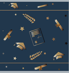 cute graduation background with golden graduation vector image