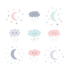 Cute hand drawn smiling clouds and moon with vector