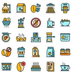 decaffeinated coffee icons set flat vector image