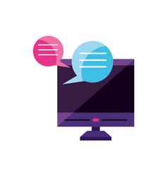 Desktop with chat bubbles app vector