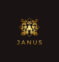 Elegance gold janus god logo wearing leaf crown vector