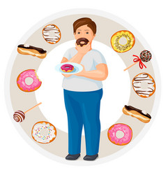 fat guy eats donut surrounded with tasty sweets vector image