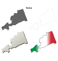 Fermo blank detailed outline map set vector