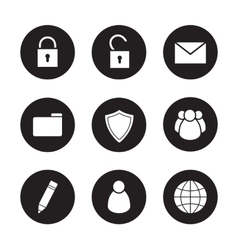 File manager black icons set vector image