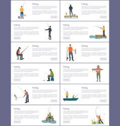 Fishing process male hobby and sport posters set vector