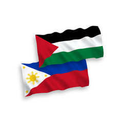 Flags palestine and philippines on a white vector