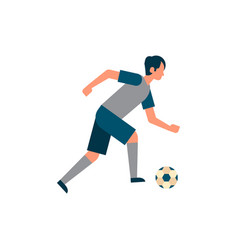 football player attack kick ball isolated sport vector image