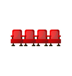 Four red armchair line in city cinema or cultural vector