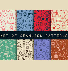 Geometric seamless patterns memphis style 80s vector