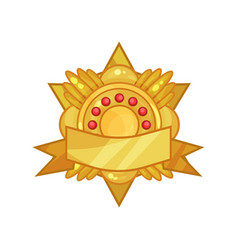 Gorgeous golden reward medal or badge decorated vector