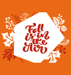greeting card with text fall is in air orange vector image