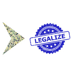 Grunge legalize stamp seal and military camouflage vector
