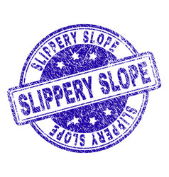 Grunge textured slippery slope stamp seal vector