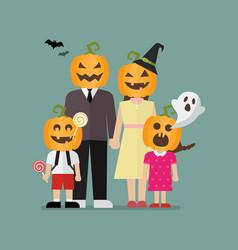 Halloween family with pumpkin costumes vector