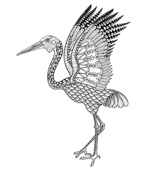 Hand drawn Brolga Australian crane for antistress vector