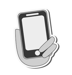 hand holding modern cellphone icon vector image