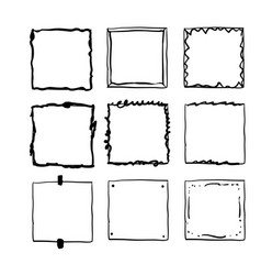 handdrawn square doodle frame collection vector image