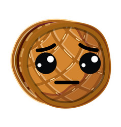Kawaii cute sad waffles with honey vector