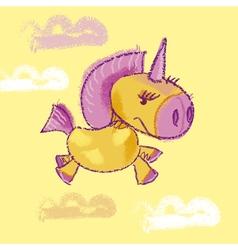 Kiddy unicorn in the sky vector