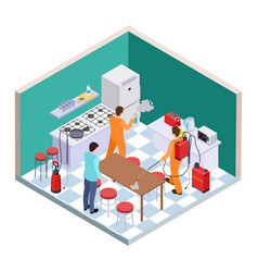 kitchen disinfection isometric pest control vector image