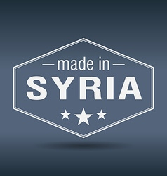 Made in Syria hexagonal white vintage label vector