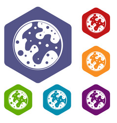 Mars icons set hexagon vector