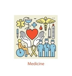 Modern color thin line art design medicine and vector image