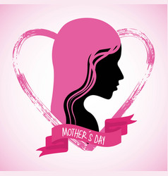 Mothers day profile woman pink hair grunge heart vector