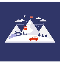Mountain winter design concept vector image