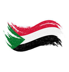 National flag of sudan designed using brush vector
