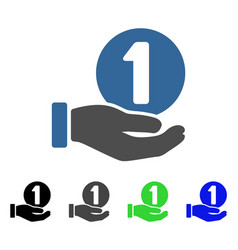 One coin payment hand flat icon vector